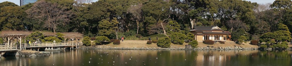 Panorámica desde fuera de la casa té de los jardines de Hamarikyu