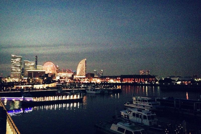 Puerto de Yokohama al atardecer