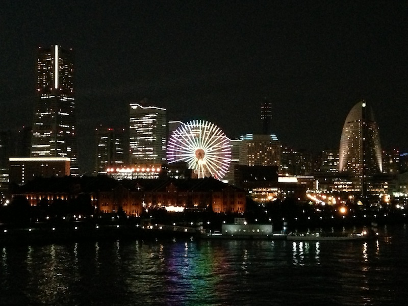 Puerto de Yokohama de noche