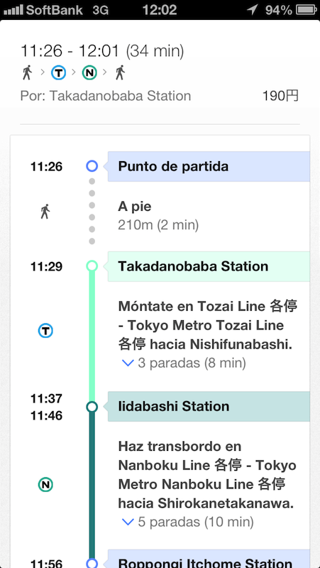 Información de transporte de Google Maps