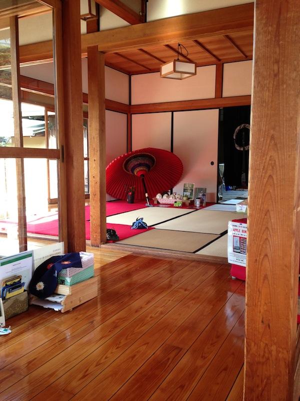 Decoración del interior de la casa de té de los jardines de Hamarikyu