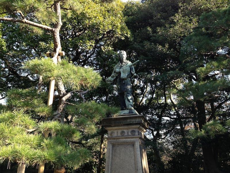 Estatua en los jardines de Hamarikyu