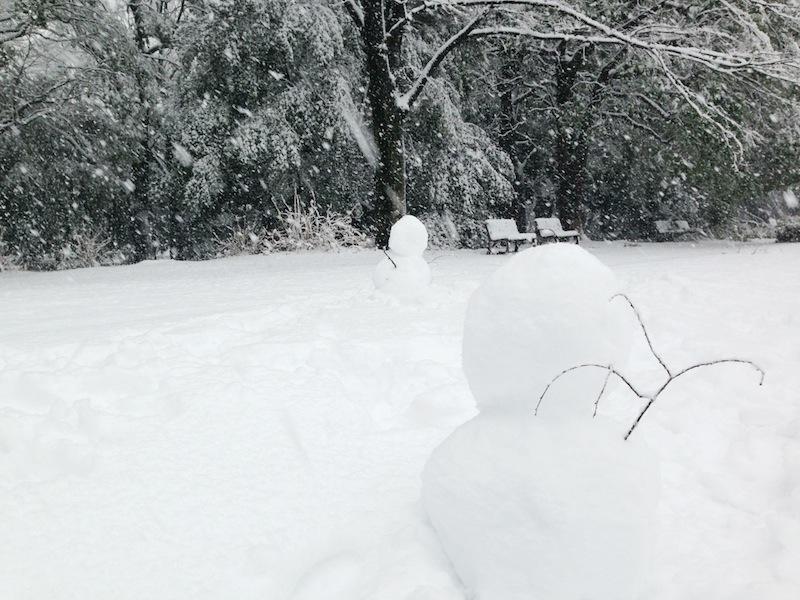 Muñecos de nieve en el parque Yoyogi