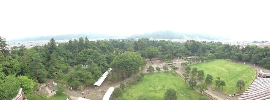 Vista de la panorámida desde el castillo de Aizu
