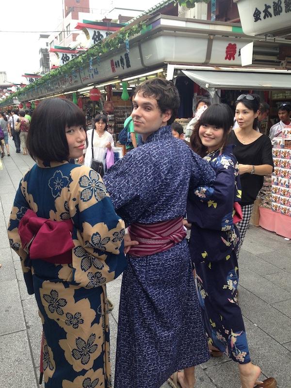 Fran con Nao y Kana en Yukata