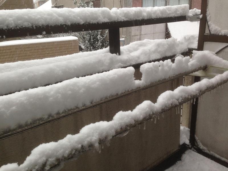 Barras de tender la ropa con nieve