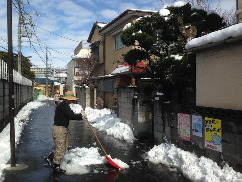 Día después de la nieve en Tokio